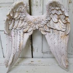 Angel wings large ornate wall decor white tinted pink distressed gold accented textured Shabby  chic home decoration anita spero