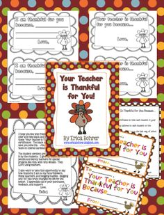 Classroom Freebies: Thanksgiving Freebie: Your Teacher is Thankful for You