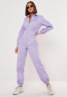 lavender boiler style jumpsuit pattern for petite women Boat Fashion, Fashion Fashion, Designer Jumpsuits, Jumpsuit Pattern, Jacket Pattern, Boiler Suit, Collar Designs, Mode Vintage, Black Jumpsuit