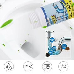 Powerful Pipe Dredging Agent Powerful Sink Drain Cleaner For Kitchen Sewer Toilet Brush Closestool Clogging Cleaning Tools Diy Home Cleaning, Household Cleaning Tips, Deep Cleaning Tips, House Cleaning Tips, Diy Cleaning Products, Cleaning Hacks, Unclog Shower Drains, Clogged Drains, Sink Drain Cleaner