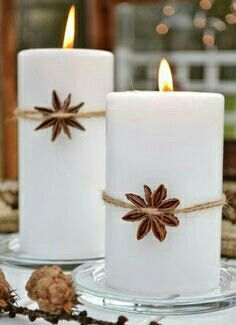 Christmas candles decorated with anise