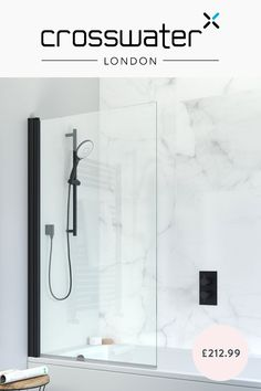 This matt black easy clean bath screen is the perfect addition to any monochrome, modern bathroom design.⚫ - Over on our site, we have a lovely selection of shower enclosures for you to browse! - #blackbathrooms #blackshowers #showers #monochromebathroom #modernbathroomdesign
