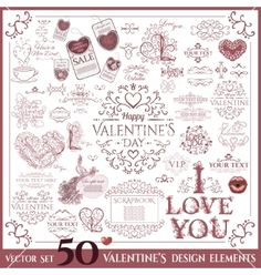 Valentines day set calligraphic design elements vector - by OlleVita on VectorStock®