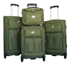 4pc Luggage Set Travel Bag Rolling 4wheel Carryon Expandable Khaki ** You can get additional details at the image link.