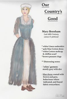 """""""Our Country's Good"""" -- Mary Brenham, watercolor on paper. (Digital text added to scan of original.) Created for Advanced Design class, Grossmont College, 2015"""