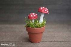 DIY mushrooms for mini garden pot for the Fairy Garden