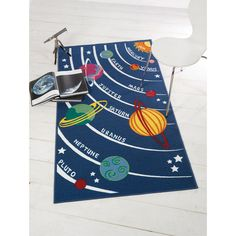 Kids Outer Space Themed Play Rugs with Planets Sun