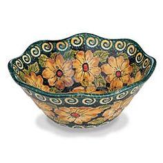 Polish Pottery Sunflower Bowl