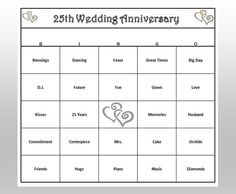 Silver Wedding Anniversary 25th Party Bingo Celebrate The Lifetime Of Love