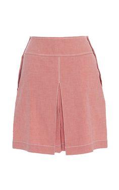 Chambray Pink Lanai Skirt by Temperley London London Now, Lanai, Ss16, London Fashion, Chambray, Casual Shorts, Short Dresses, Temperley, Pink