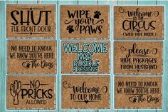 Cricut Discover Welcome Mat Bundle - 8 Designs Incl. Front Door Rugs, Front Door Decor, Camping Friends, Beach Boutique, Welcome Mats, Christmas Signs, Design Show, Clipart, Cricut Design