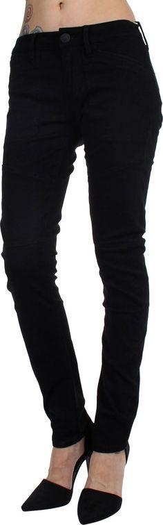True Religion - Womens Brisbane Stretch Twill Skinny Pants, Size: 28, Color: Black.