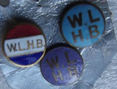 WLHB badges Womens League of Health and Beauty 3 vintage enamel buttons + clips