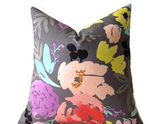 Caitlin Wilson Floral Print Pillow Cover, Designer Decorative Pillow, Gray, Throw Pillows, High End Pillows, Pillow Covers, Lumbar Pillow