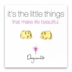 must have.  small elephant stud earrings, gold dipped - Dogeared