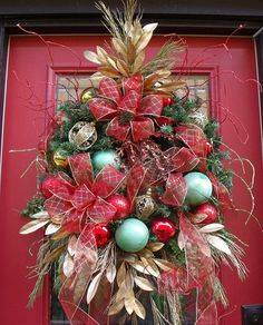 Doorway Elegant Christmas Garlands | Christmas Wreath Front Door Wreaths Deck The Halls Red Gold Green