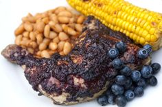 Grilled Chicken in a Blueberry BBQ Sauce