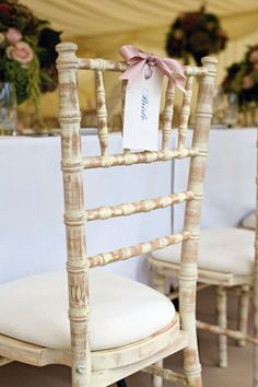 Subtle detailing for bride and groom chairs or to hang on back of chairs for all place settings