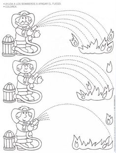 Fire Safety Worksheets Preschool Fire Safety Week Worksheet for Kids 1 Kindergarten Worksheets, Worksheets For Kids, Fire Safety Week, People Who Help Us, Community Helpers Preschool, Fire Prevention, Pre Writing, Writing Skills, Fine Motor