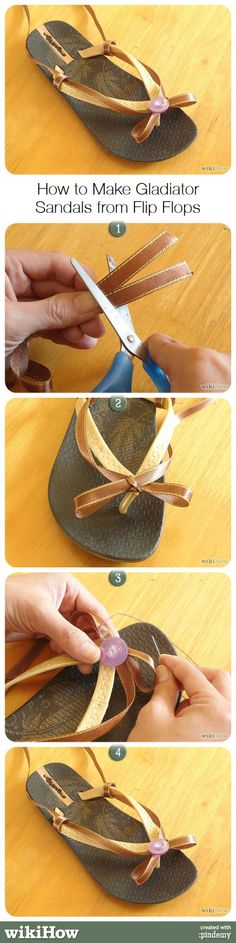 How to make gladiator sandals from flip flops. #shoes #costume