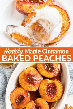 Baked Peaches Baked Peaches Healthy Baked Peaches are DELICIOUS and EASY! Fresh peaches topped with maple syrup or honey, brown sugar and cinnamon, baked until warm, juicy, and tender. Add ice cream or caramel or enjoy them just as they are! Healthy Deserts, Healthy Sweets, Healthy Dessert Recipes, Healthy Baking, Baking Recipes, Desserts Sains, Köstliche Desserts, Healthy Baked Peaches, Vegetarian Recipes