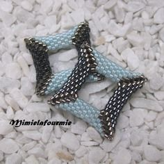 Perle perlée carrée 3d miyuki - tissage peyote - b2b hématite/ bleu
