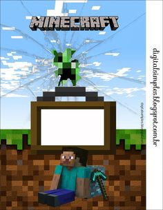 "Festa Aniversário Digital ""Minecraft"" para Imprimir - Convites Digitais Simples"