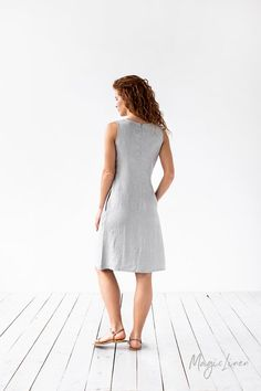 Fit and flare linen dress with a tie-front for those who like style and comfort. Light and soft linen summer dress. Handmade linen clothing for women. Sustainable Looks, Linen Dress Pattern, Dresses For Work, Summer Dresses, Linen Dresses, Fit And Flare, White Dress, Clothes For Women, Etsy