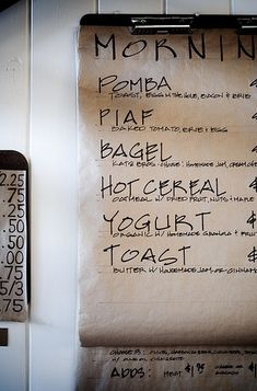 Beautiful Handwritten Menu - make for a party, save for the kitchen.