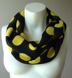 Black And Yellow Polka Dot Infinity Scarf Circle Loop by LenitaGM, $19.00