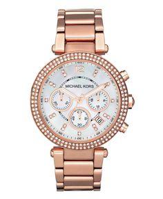 Michael Kors Watch, Women's Chronograph Rose Gold Tone Stainless Steel Bracelet 39mm MK5491