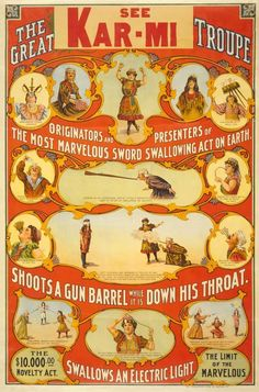 SWORD SWALLOWING Vintage Side Show Poster Giclee CANVAS ART PRINT 24x34 In