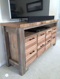Reclaimed Wood Media Console by My Love 2 Create, featured on Funky Junk Interiors