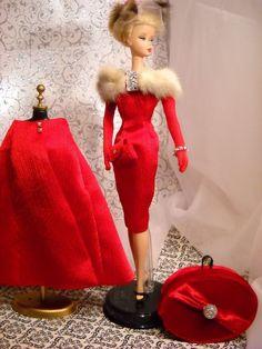 *Rouge* MINK STOLE Vintage Barbie Silkstone Fashion Royalty Victoire Roux OOAK