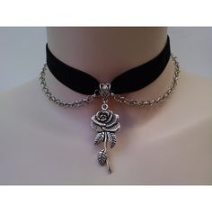 ROSE & CHAIN Velvet BLACK Ribbon Choker - si... or choose another... ($6.51) ❤ liked on Polyvore