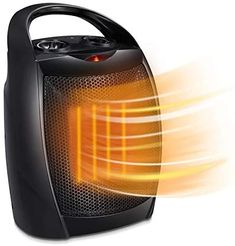 Joy Pebble Portable Ceramic Electric Space Heater for Bedroom and Office Indoor Use with Adjustable Thermostat, Overheat Protection and Easy Carrying Handle, 750W/1500W (Black) Best Space Heater, Portable Space Heater, Portable Tent, Kitchen Dining, Electric, Home Appliances, Handle, Indoor, Joy