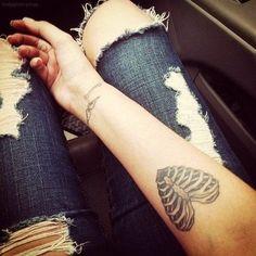 Skeleton heart tattoo sexy tattoos girl heart arm jeans bones