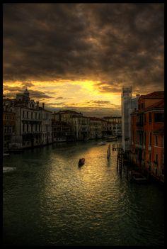 Grand Canal, Venice at dusk. Italy