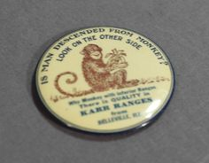 Unusual Vintage Advertising Mirror -Belleville, ILL- Karr Ranges-Perfect Unique Gift- Is Man Descended From Monkeys?- Country Store Premium by CarolynsEclectics on Etsy