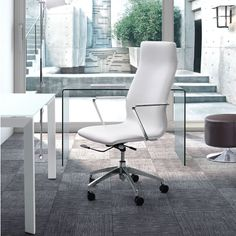 The Holmes High Back Office Chair features a fully upholstered leatherette seat and back available in your choice of white, black, or gray. It is made with chromed steel armrests and sits on a five star chrome base with rolling castors. $439.00