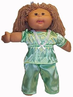 Cabbage Patch Dolls Green Satin Pajamas, http://www.amazon.com/dp/B00N7MW56K/ref=cm_sw_r_pi_awdm_0jKkub1R7RB2Q