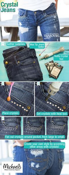 Bling your jeans the easy DIY way with Swarvovski Hot Fix Crystals