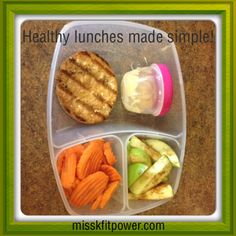 This photo shows an example of a super easy and wonderfully healthy lunch, which I packed in my favorite reusable lunch container. It follows my healthy-lunch formula of including a veggie, a fruit, a protein source and healthy fat. Here's what's in it:  ~Sliced carrots (veggie) ~Sliced Granny Smith apple (fruit) ~Salmon patty (protein with healthy fat)  ~All-natural honey mustard (healthy condiment)