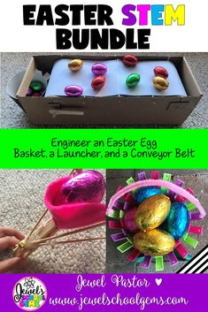 Easter STEM Activities BUNDLE (Easter STEM Challenges) |  This is a bundle of three of my Easter STEM challenges: Easter Egg Basket STEM Challenge, Easter Egg Launcher STEM Challenge, and Easter Egg Conveyor Belt STEM Challenge. These Easter STEM Activities are fun, creative, and engaging! They will surely get your students designing and building during this time of year. | Easter STEAM Challenge | Easter STEAM Activities | Easter STEAM Lesson | Easter STEM Project