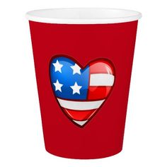 Patriotic design 4th of July Party / Flag Day / Patriot Day / Any American Themed Event paper cups. Matching cards , postage stamps and other products available in the Holidays / 4th of July Category of the Mairin Studio store at zazzle.com
