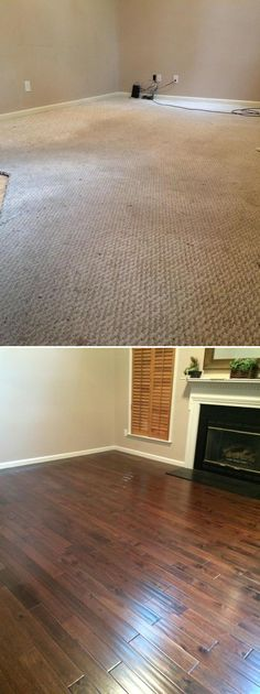 Top Makeovers! Family Room Before & After with Hazelnut Acacia Handscraped