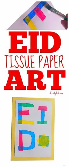 You can use this tissue papercraft as a welcome sign, place it in a frame, or use it as a placemat. This easy DIY Eid craft is easy for little hands to do.