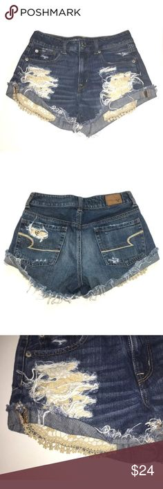 American Eagle Shorts Hi Rise Distressed Jean 2 Waist: 14 1/2 inches Hips: 16 inches Length, Outseam: 9 1/2 inches  Inventory# Z8 American Eagle Outfitters Shorts Jean Shorts