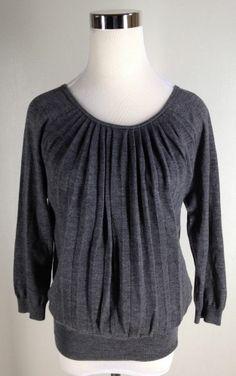 $24.95 opening bid! ANN TAYLOR LOFT Pleated Wool Blend Charcoal Knit Sweater Top 3/4 Sleeve Size S