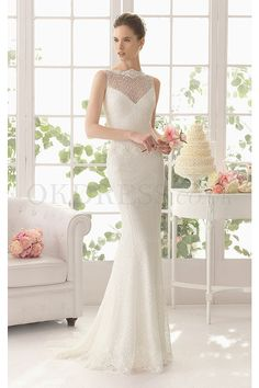 Sexy Sweep Train Sweep Train Sleeveless Dropped Buttons Wedding Dresses - by OKDress UK